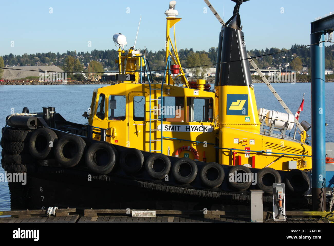 Tugboat on the Fraser River in New Westminster, British Columbia, Canada - Stock Image