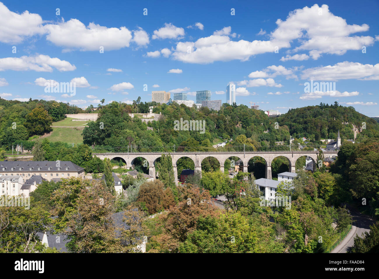 View from the Casemates du buck at Aqueduct and Kirchberg plateau, Luxembourg City, Grand Duchy of Luxembourg - Stock Image