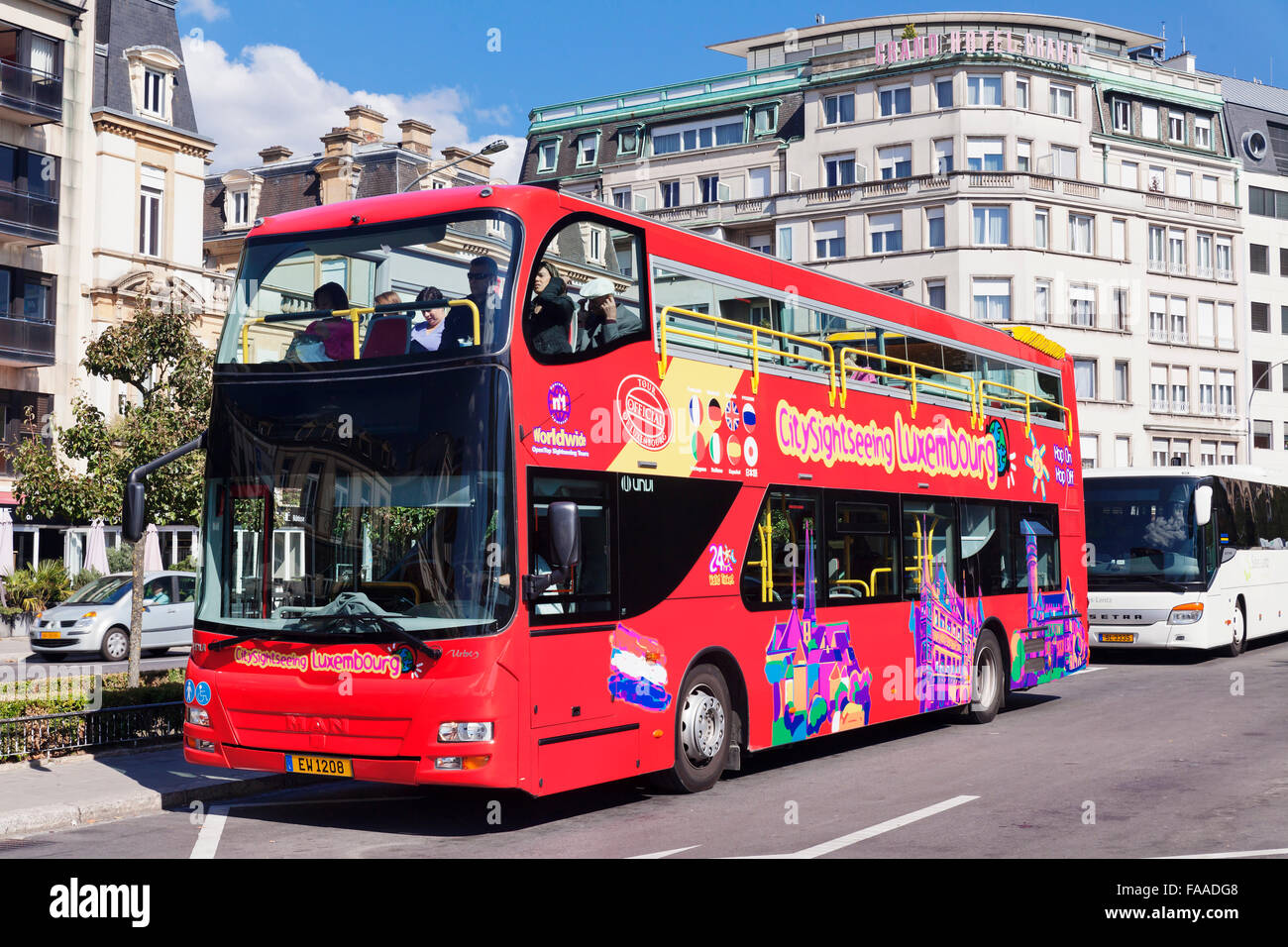 Sightseeing bus, Place de la Constitution, Luxembourg City, Grand Duchy of Luxembourg - Stock Image