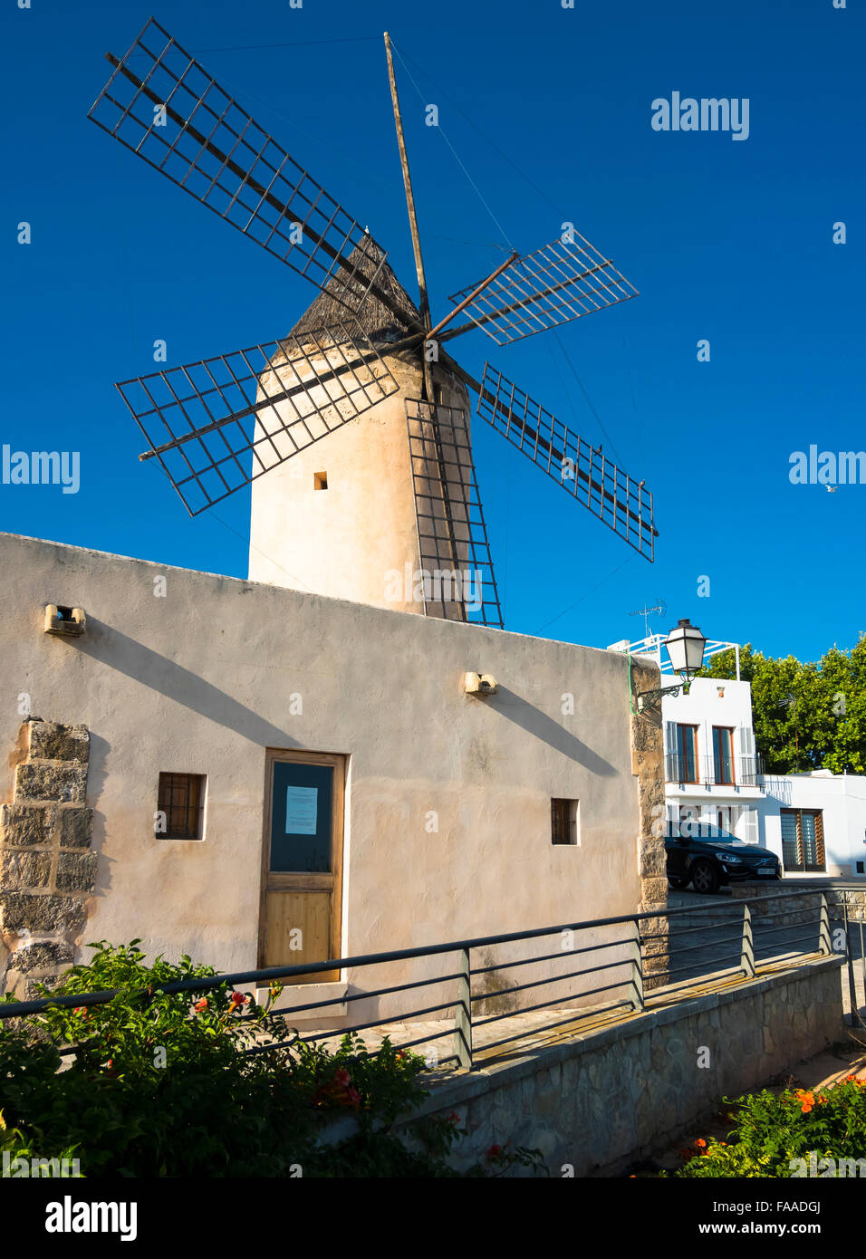 Historic windmill of Es Jonquet, Santa Catalina, Palma de Majorca, Majorca, Balearic Islands, Spain - Stock Image