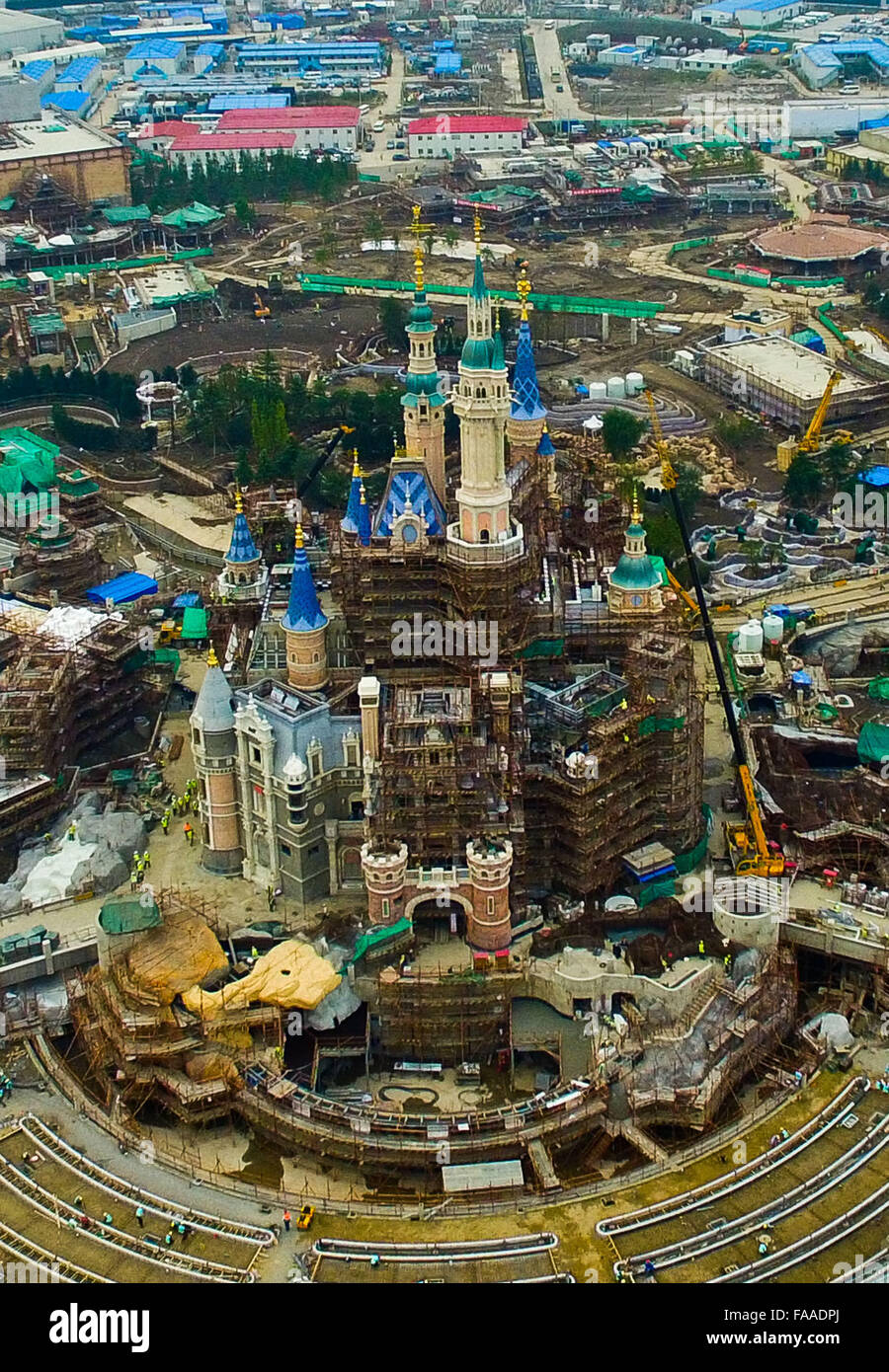 Shanghai. 9th Oct, 2015. An aerial photo taken on Oct. 9, 2015 shows the Disney Park in Shanghai, east China. © Stock Photo