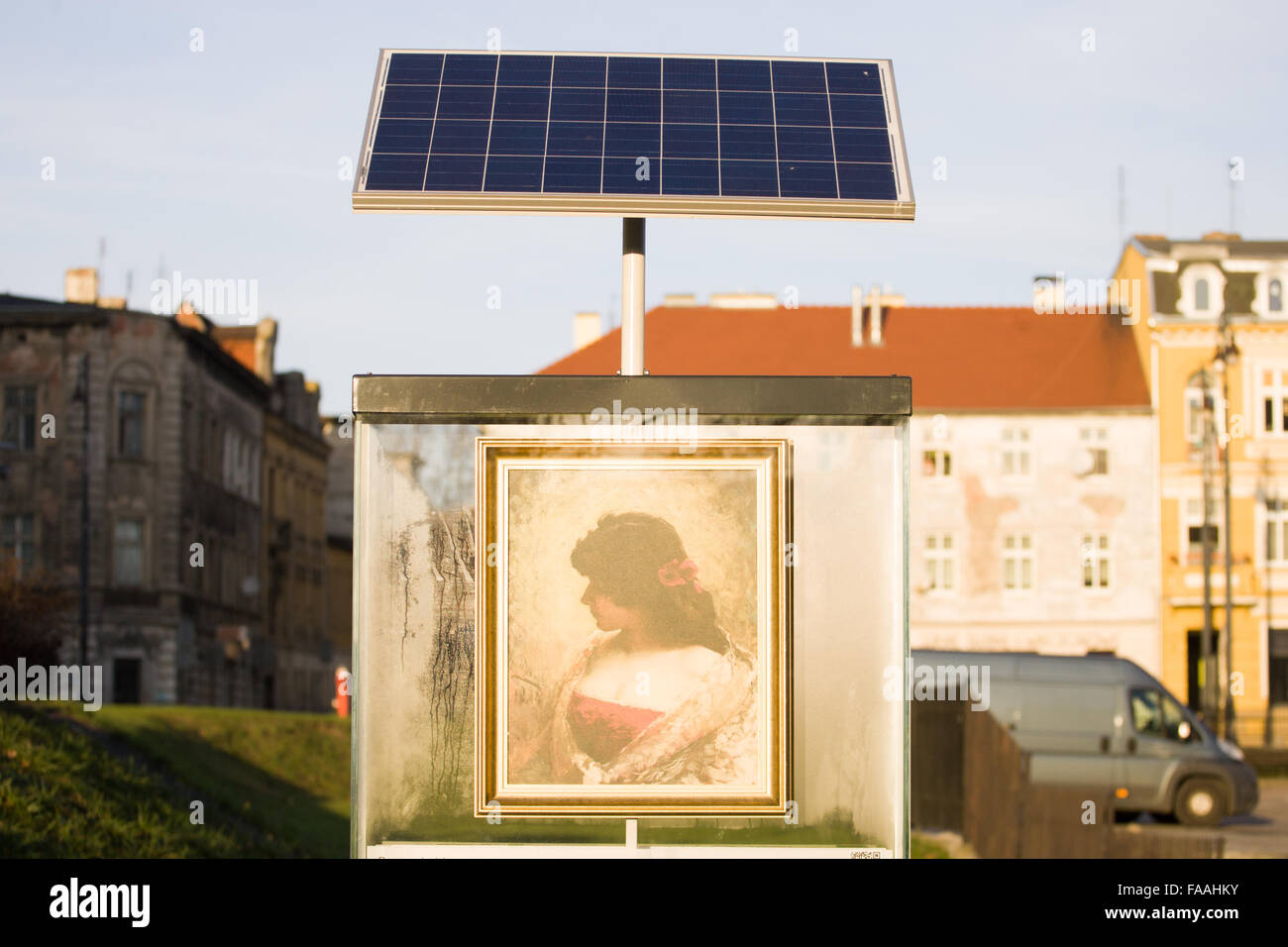 A solar panel is seen above an art display in Bydgoszcz, Poland ...