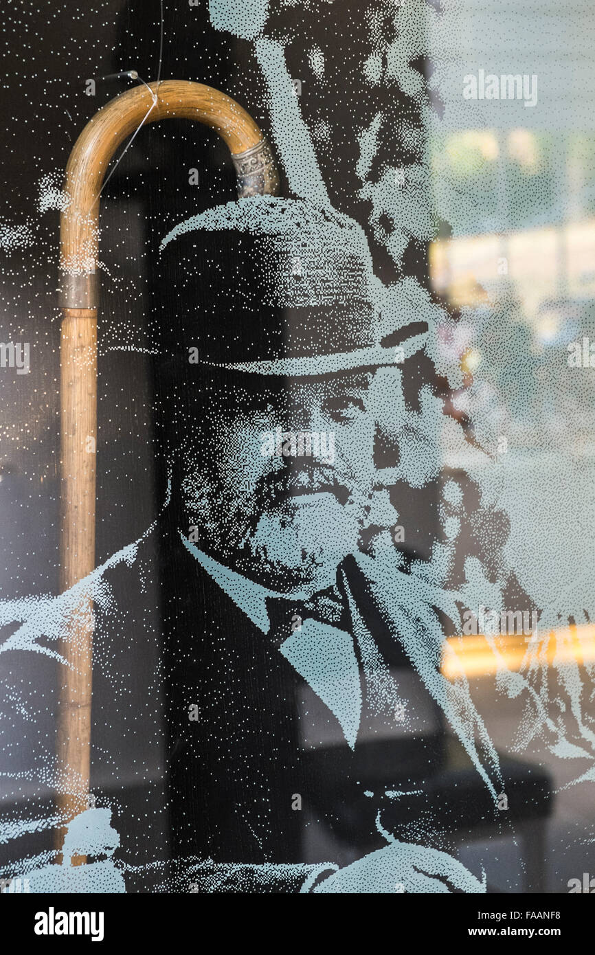 photograph of gottlieb daimler next to his walking stick at the daimler memorial, the reconstructed workshop of - Stock Image
