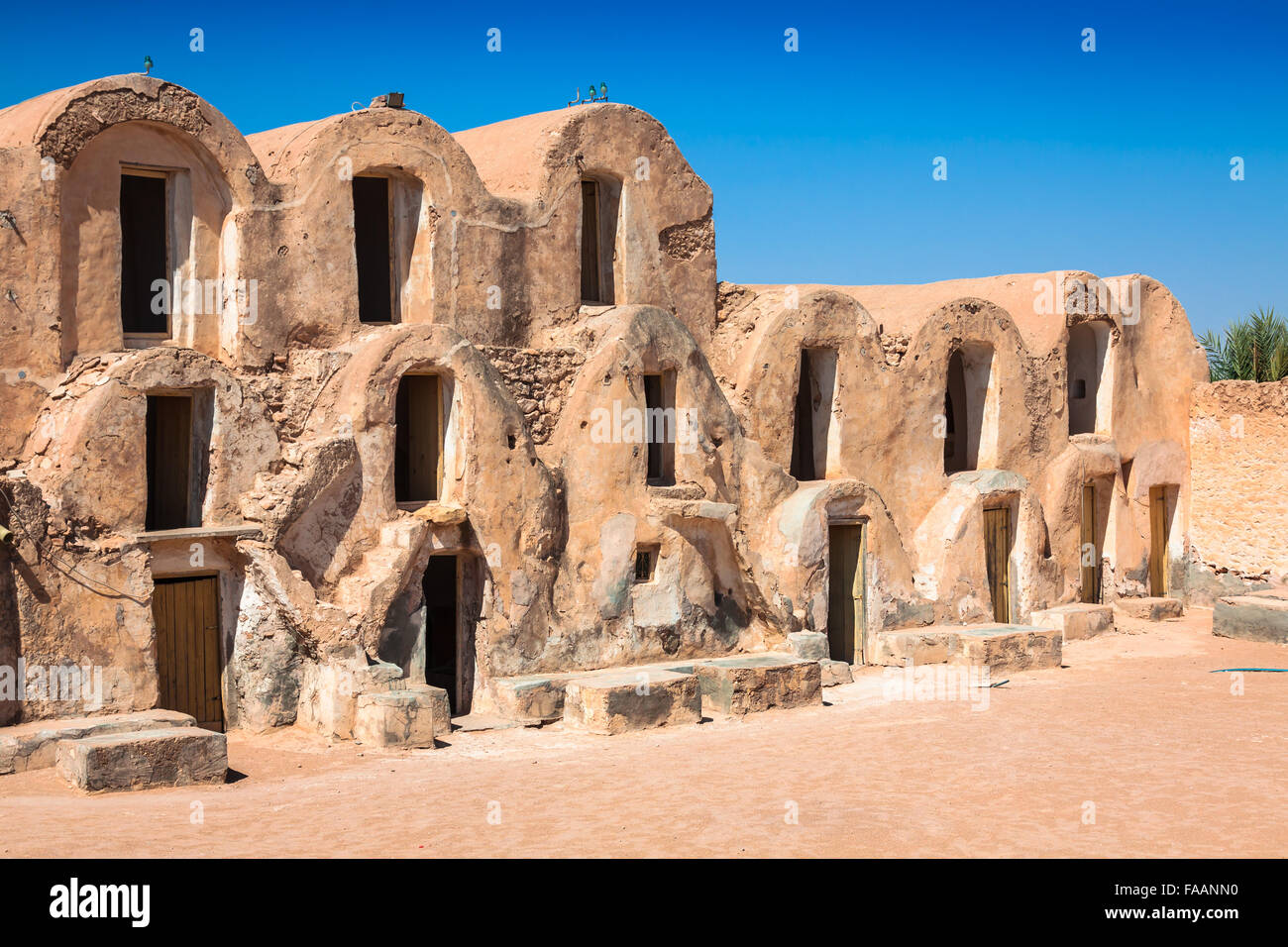 Tunisia. Medenine. Fragment of old Ksar located inside village. There were formerly fortified granaries (Ghorfas) - Stock Image