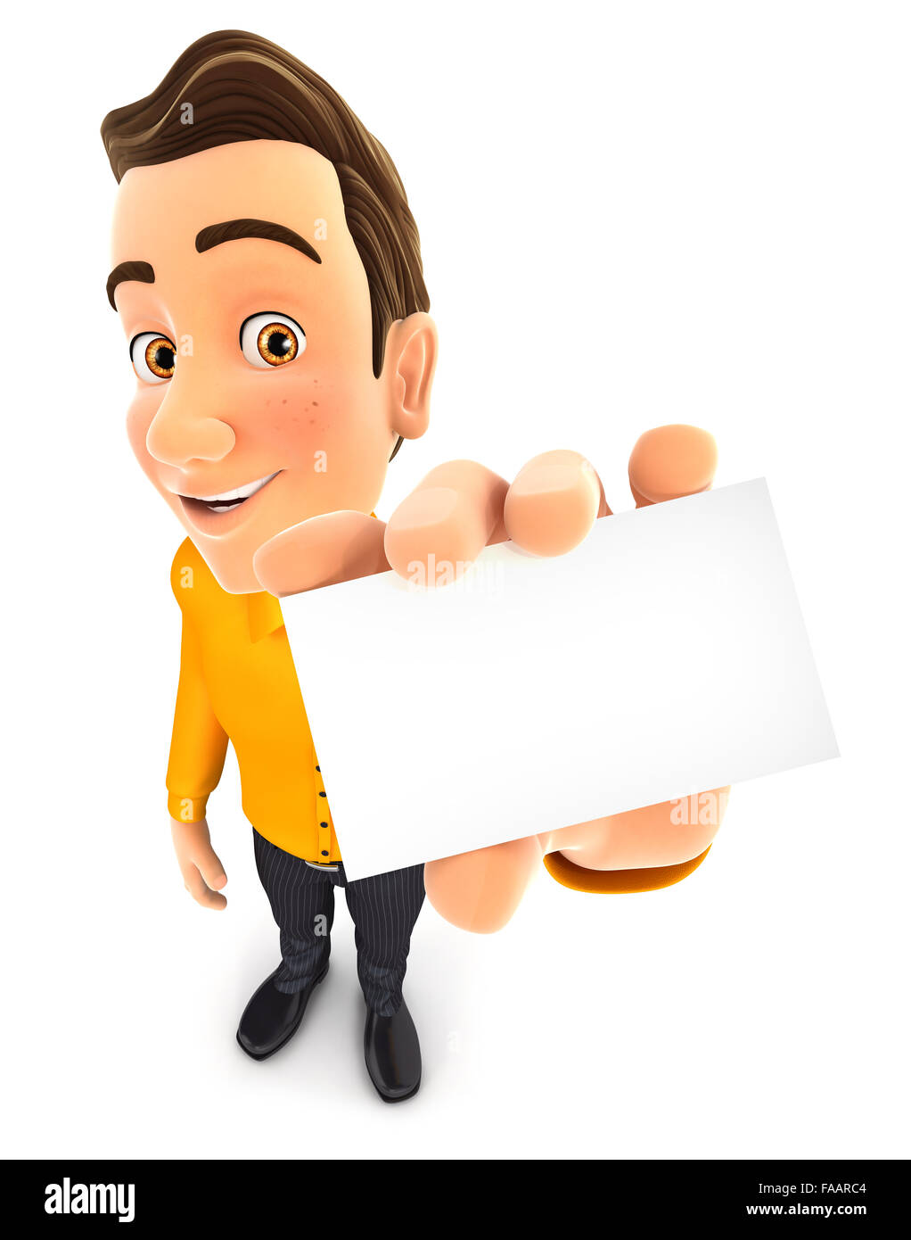 3d man holding business card, isolated white background Stock Photo