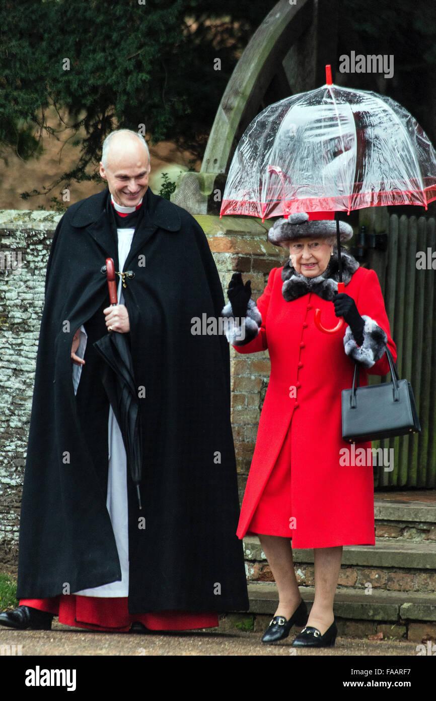Sandringham, UK. 25th Dec, 2015.  The Royal Family attends the Christmas Service at St Mary Magdelene on the Sandringham - Stock Image