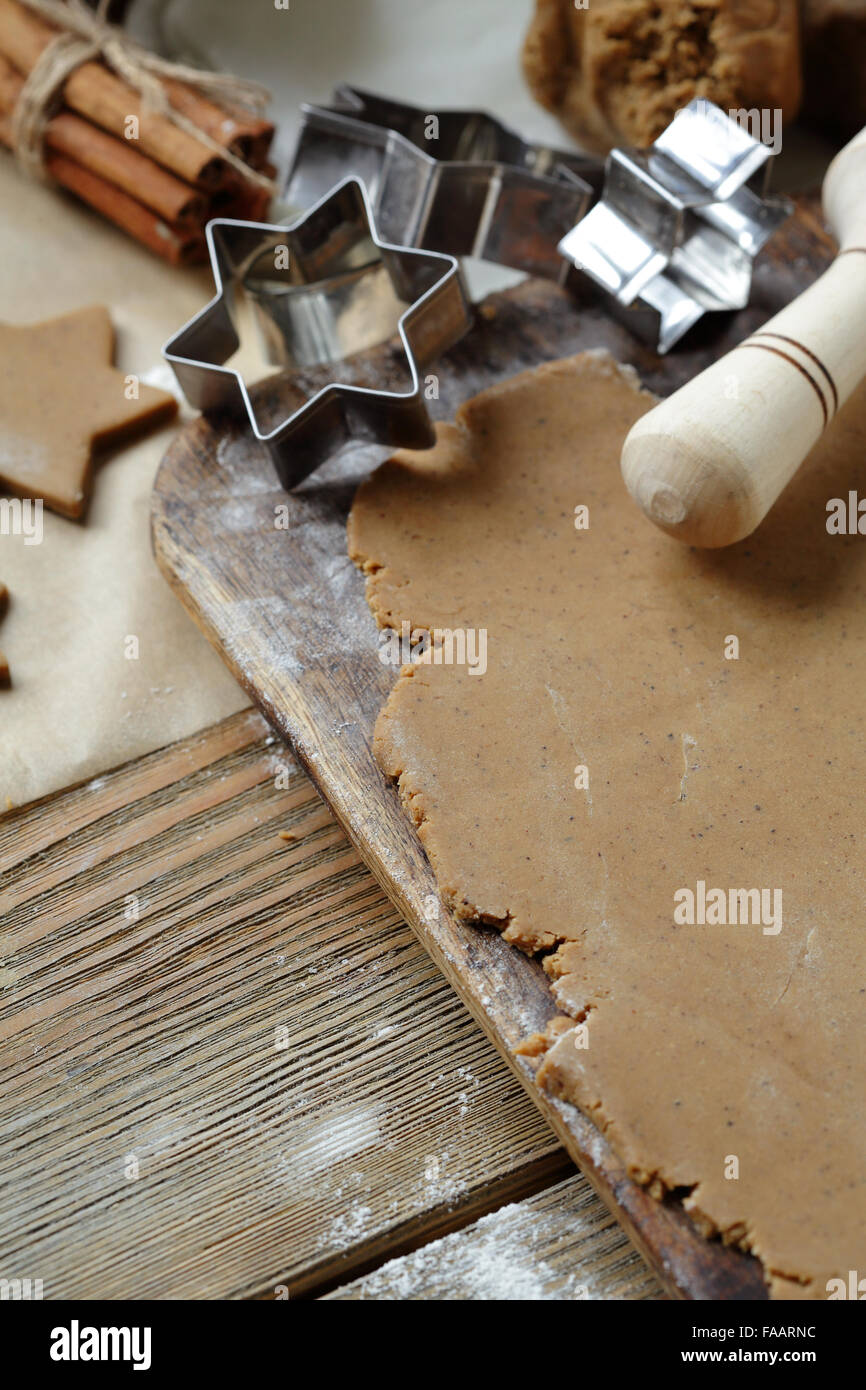 gingerbread dough and cutters, cooking - Stock Image