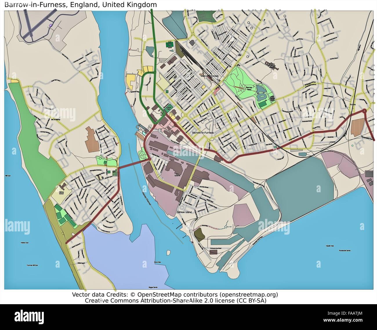 BarrowinFurness England UK city map Stock Photo 92437260 Alamy