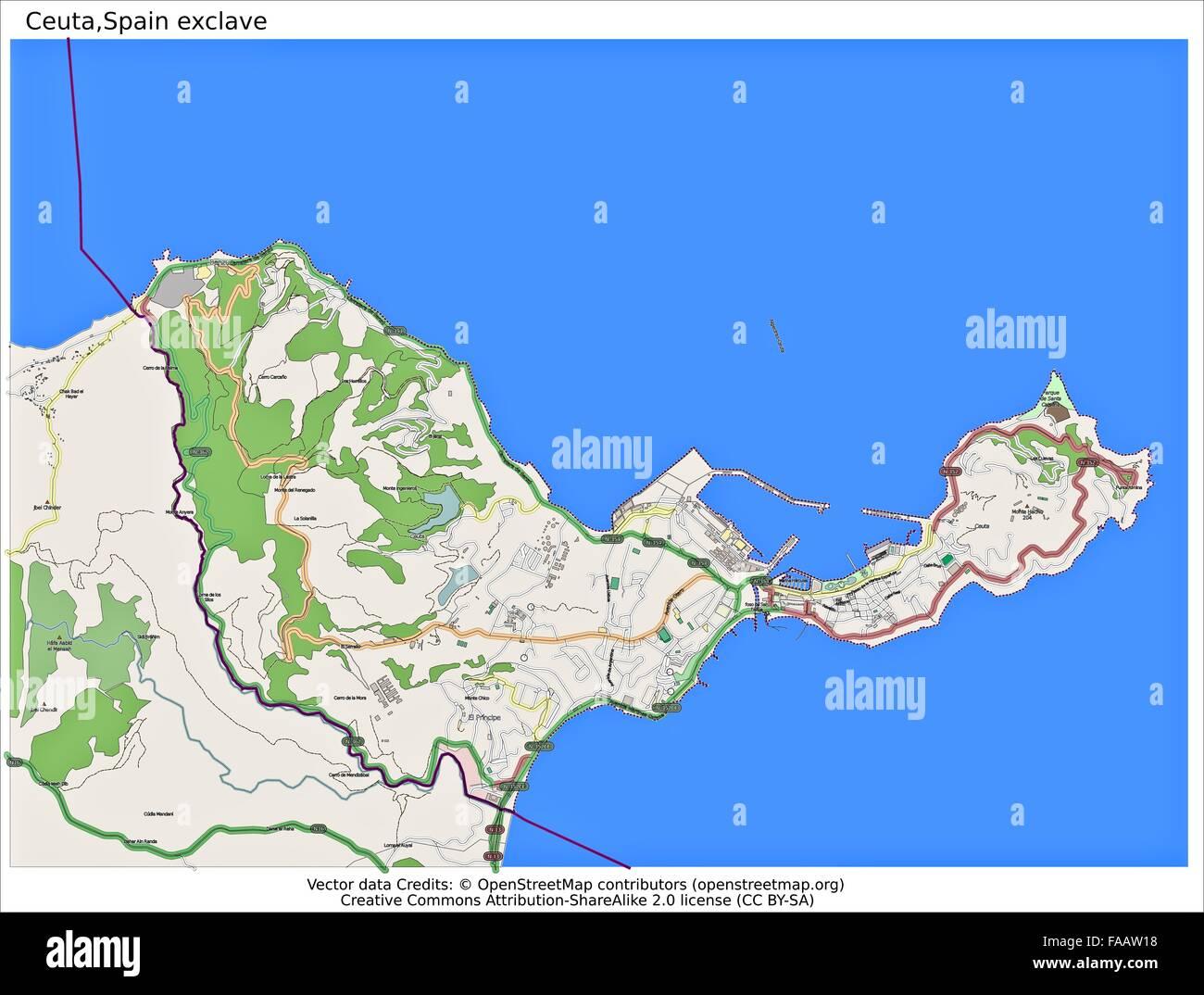 Ceuta Spain map Stock Photo: 92437556 - Alamy on