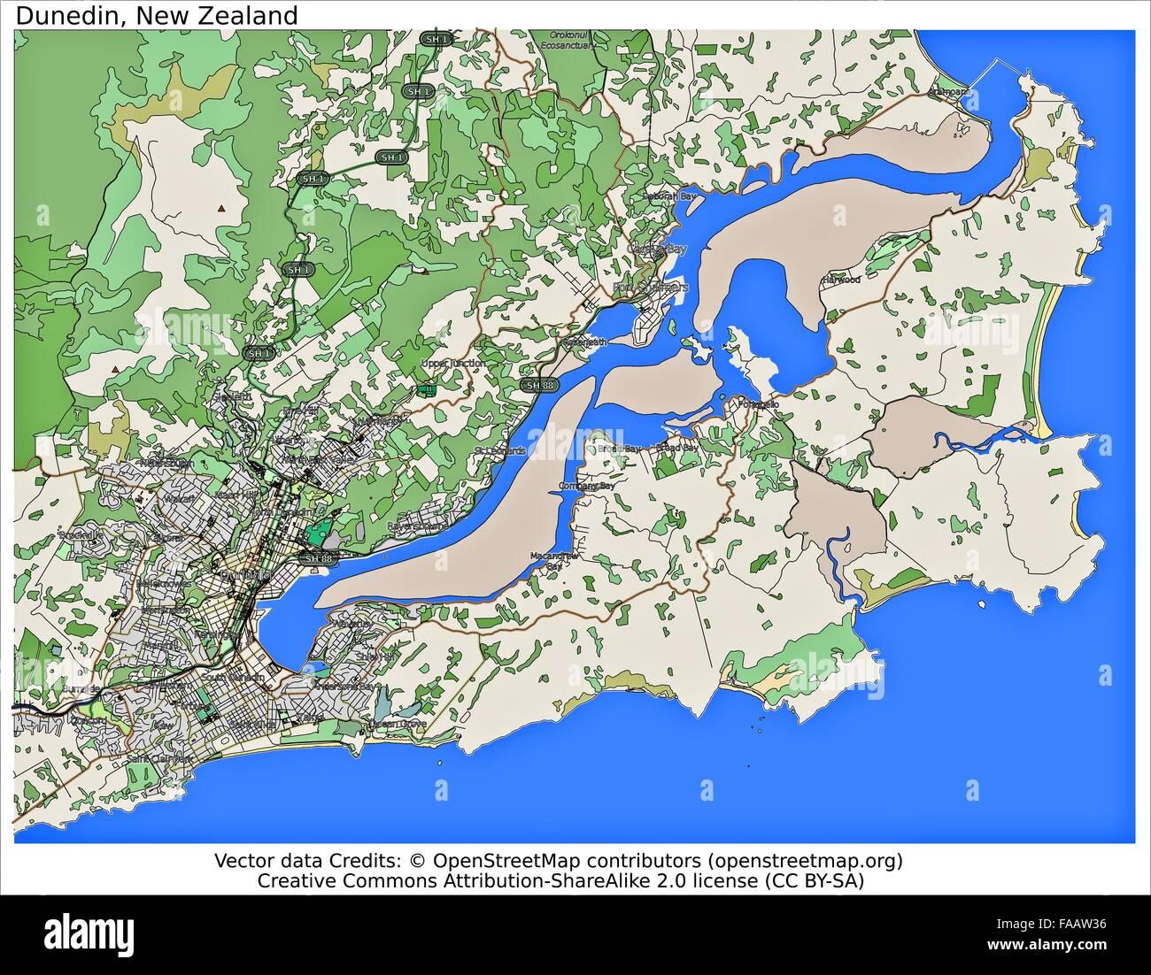 Map Of Dunedin New Zealand.Dunedin New Zealand City Map Stock Photo 92437610 Alamy