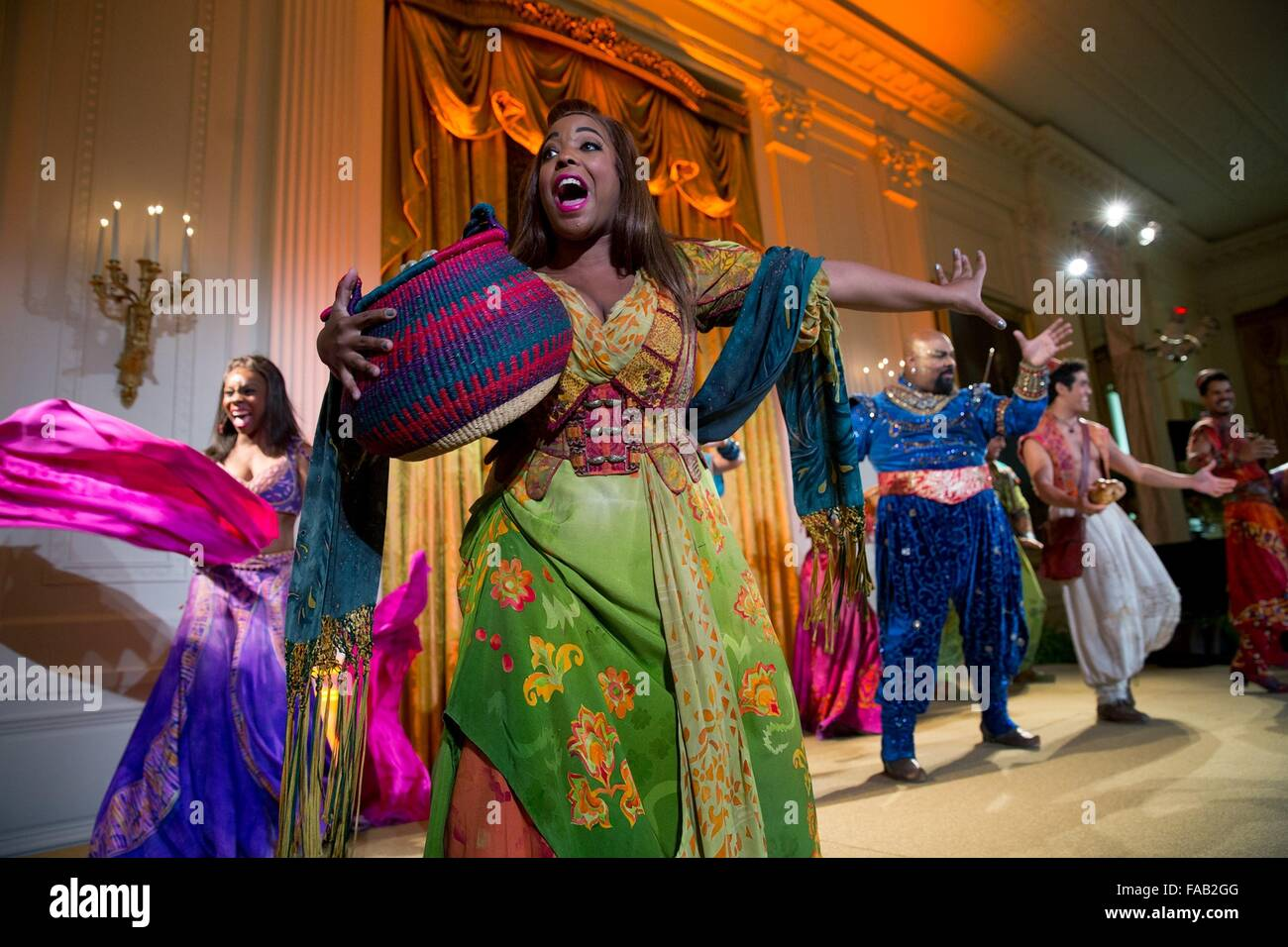 The cast of Disney's musical Aladdin performs during the Kids State Dinner in the East Room at the White House - Stock Image