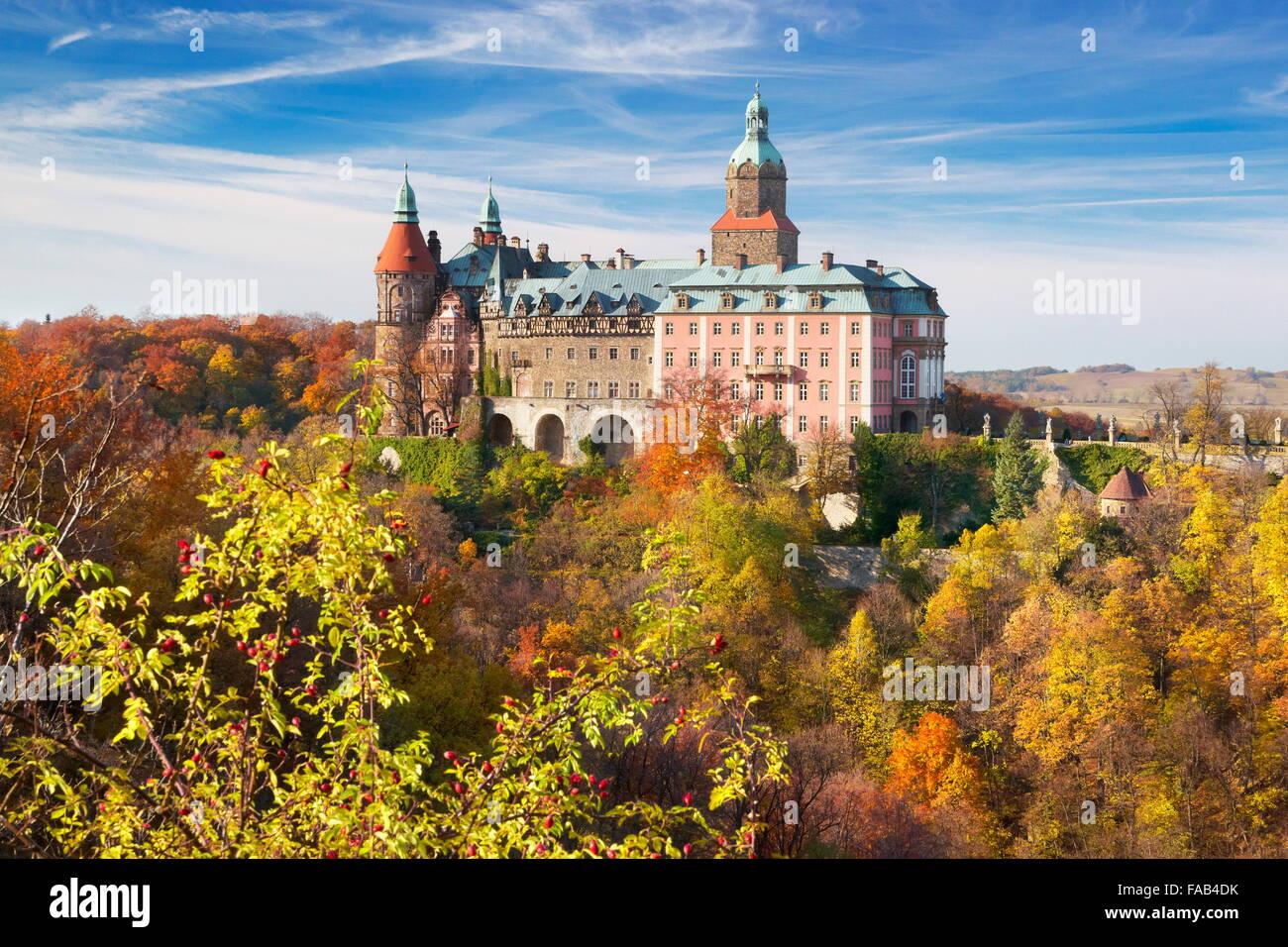 Ksiaz castle - Sudeten mountains, Silesia, Poland - Stock Image