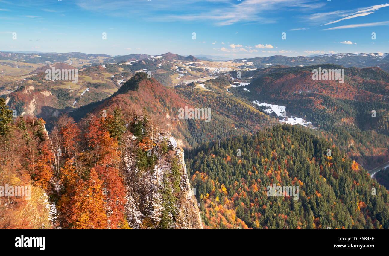 Pieniny Mountains, view from Trzy Korony Peak, Poland Stock Photo