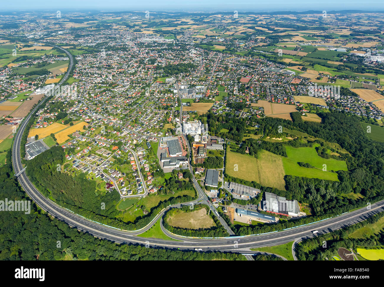 Aerial view, A30, bow with a southerly city, Bünde, East Westphalia, North Rhine-Westphalia, Germany, Europe, - Stock Image