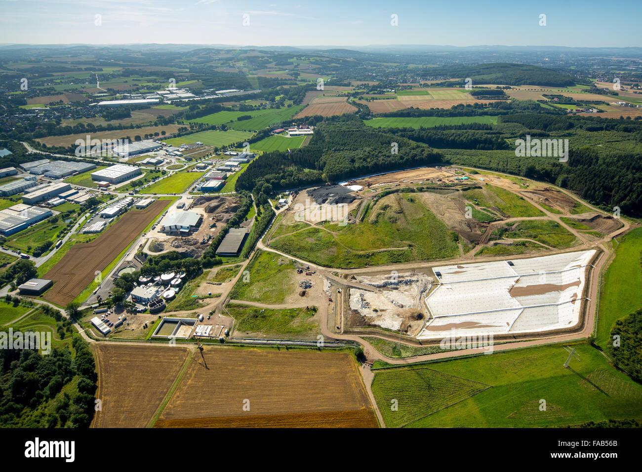 Aerial view, Reesberg landfill, Kirchlengern, East Westphalia, North Rhine-Westphalia, Germany, Europe, Aerial view, - Stock Image