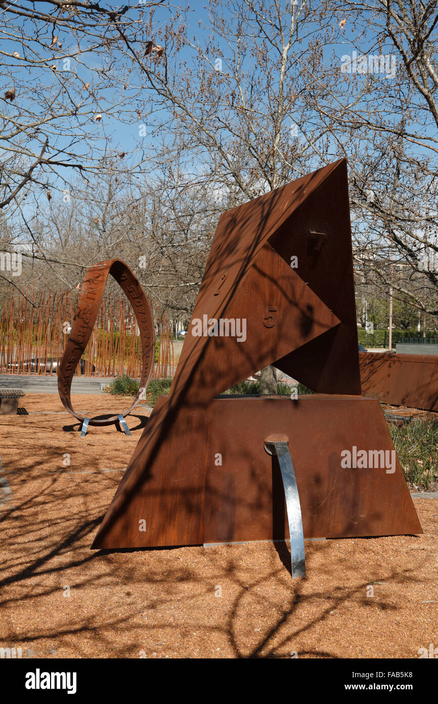 Szilassi polyhedron in garden display Canberra Australia - Stock Image