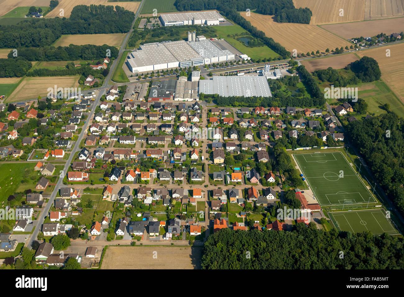Aerial view, Ballerina kitchens Heinz-Erwin Ellersiek GmbH, Rödinghausen, East Westphalia, North Rhine-Westphalia, - Stock Image