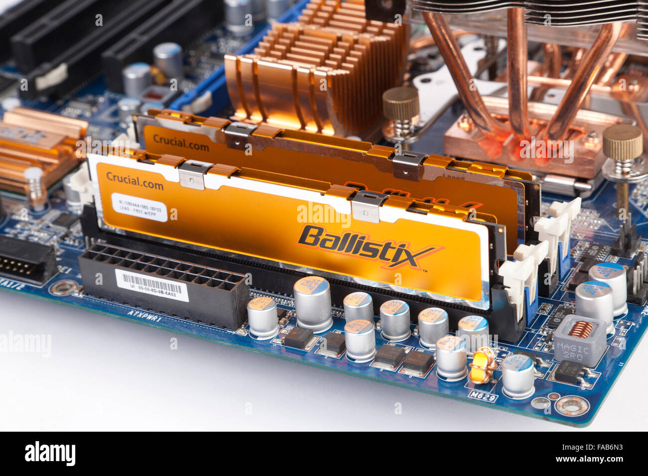 computer memory modules fitted on main motherboard - Stock Image