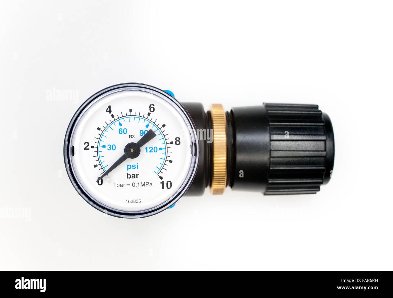 pressure regulator and gauge - Stock Image