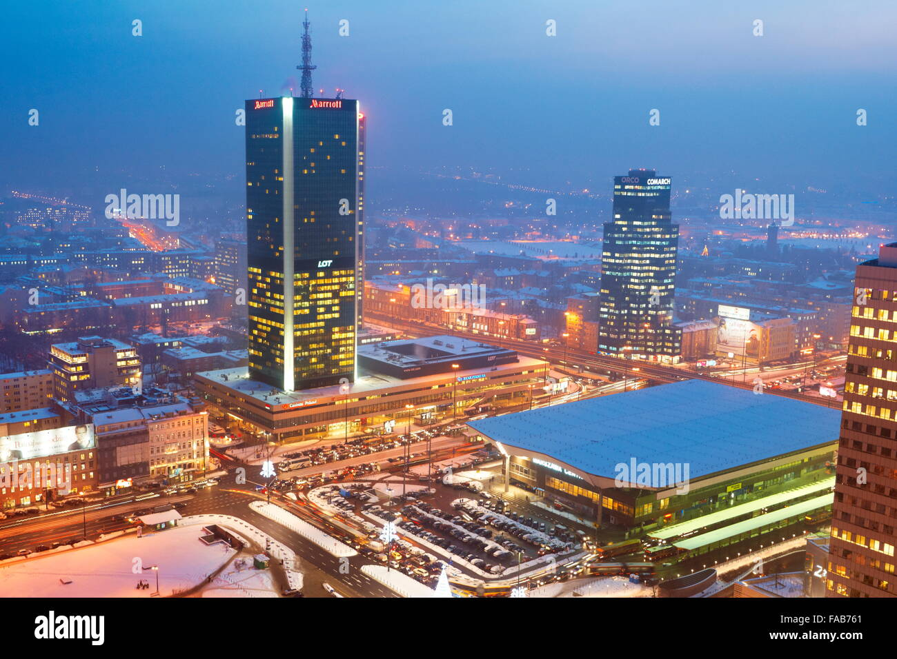 Warsaw - view to the commercial district from PKiN, Poland - Stock Image