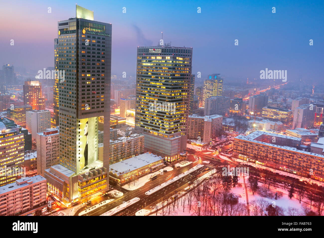 Warsaw skyline - view to the commercial district,  Poland - Stock Image