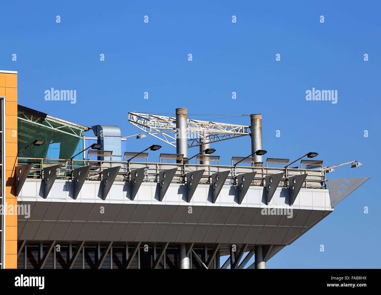 Structural constructs of steel elements on an industrial building - Stock Image