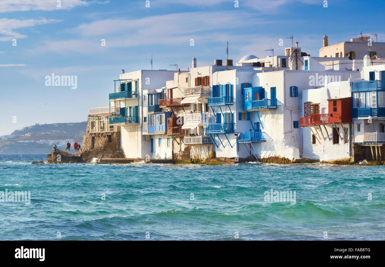 Little Venice in the Mykonos Town, Chora - Greece, Cyclades, Mykonos Island Stock Photo