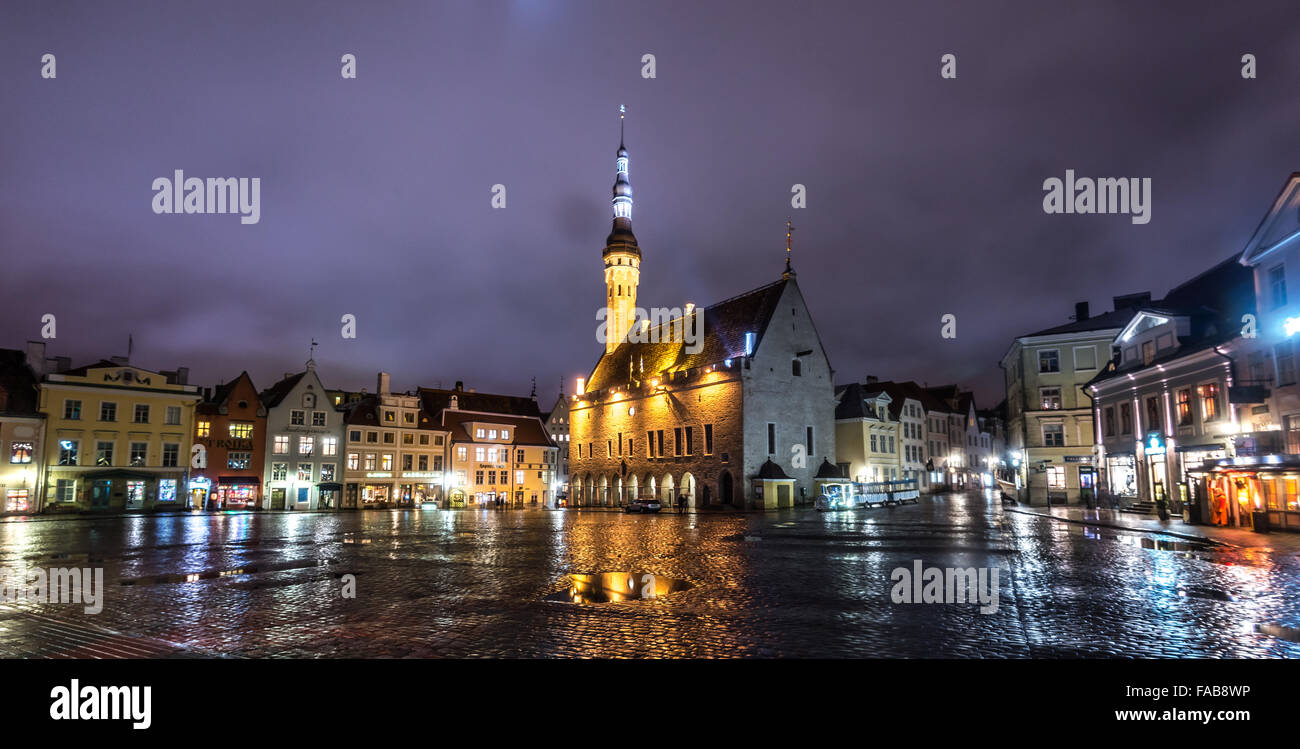Tallinn Old Town Hall Square - Stock Image