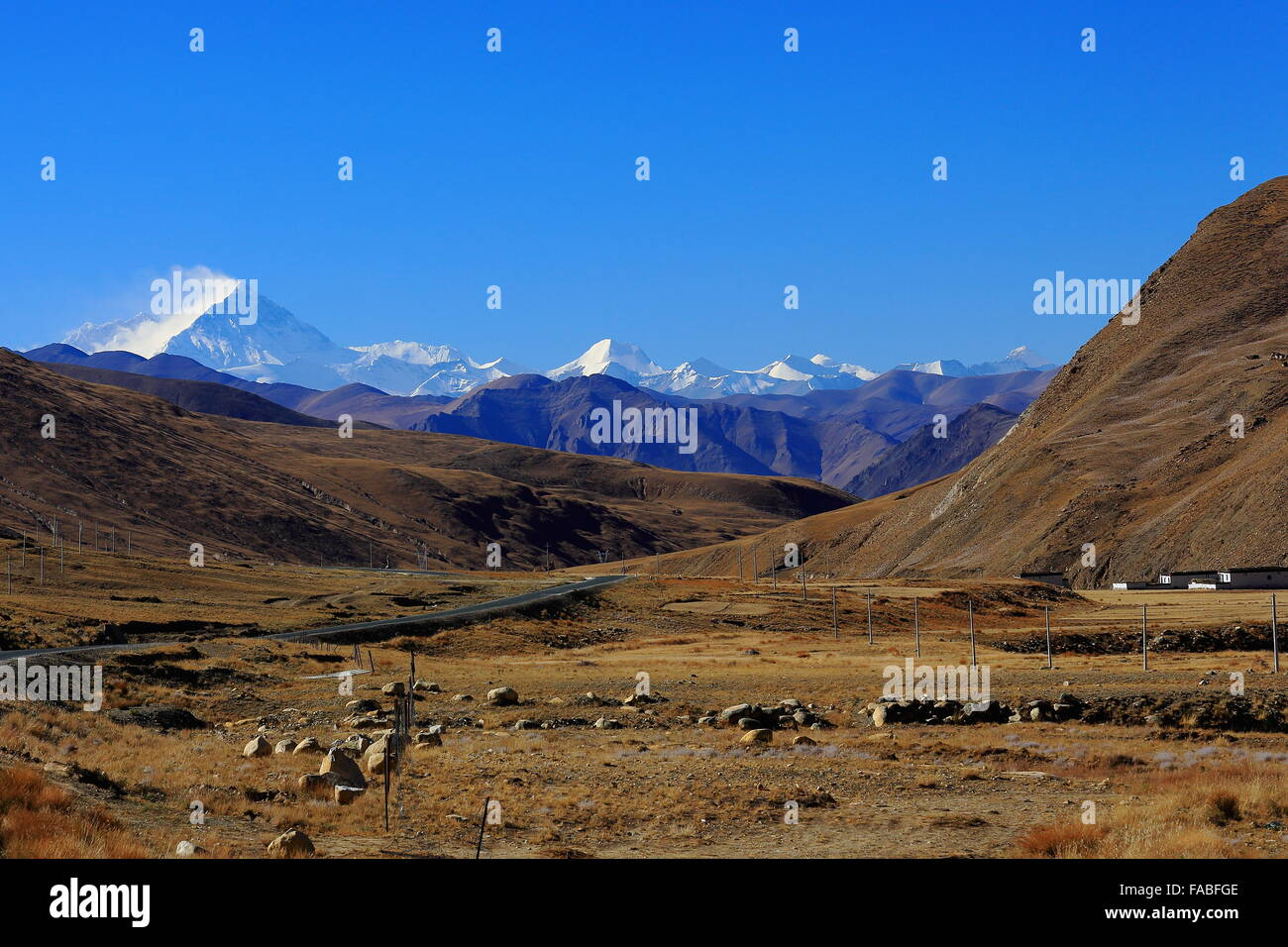 L.to R. Lhotse 8516ms. Chomolungma-Holy Mother-Everest 8844 ms. Nuptse W.Peak 7861 ms. Changtse N.Peak 7543 ms. - Stock Image