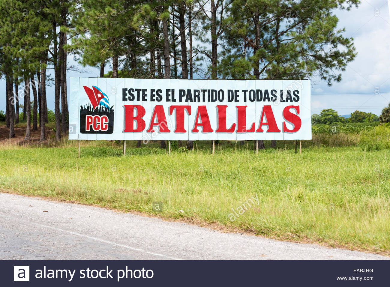 Cuban Communist Party propaganda sign or billboard in Pinar del Rio,Cuba. The sign reads: This is the party of all - Stock Image