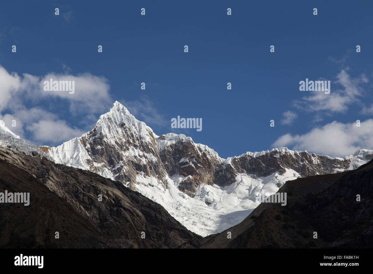 Mount Artesonraju in Peru also known as Paramount Pictures mountain. - Stock Image