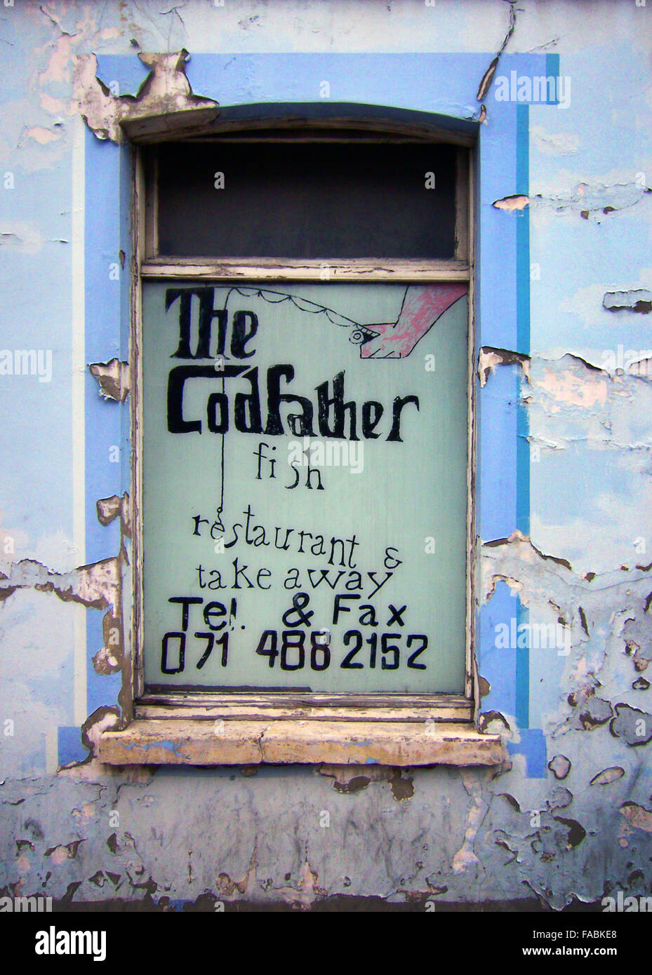 The Codfather play on words fish and chip shop in East London - Stock Image