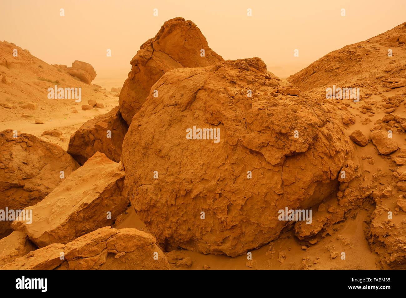 Boulders at Mutla, Kuwait - Stock Image