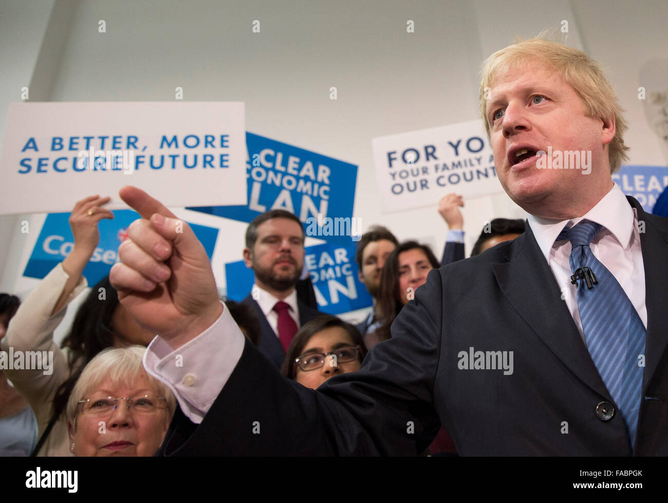 The Conservative Mayor of London Boris Johnson campaigns in north London during the 2015 UK elections - Stock Image