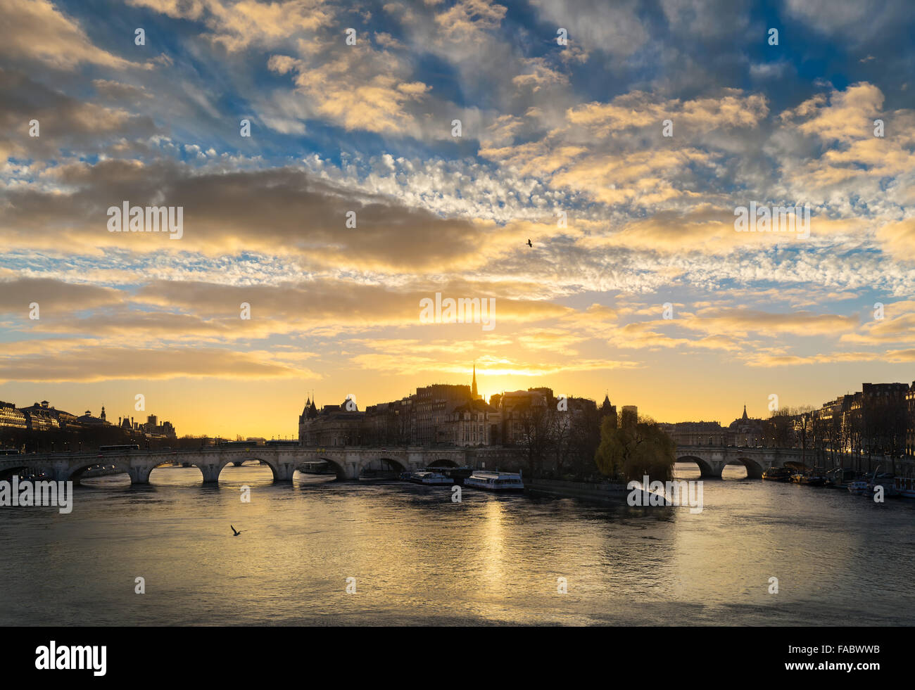 Sunrise over Ile de la Cite in central Paris. The Pont Neuf crosses the Seine River and links the Left and Right - Stock Image