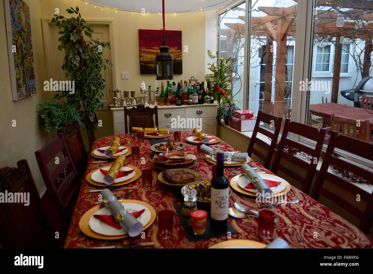Home made food served on Christmas Day in a family UK home. - Stock Image