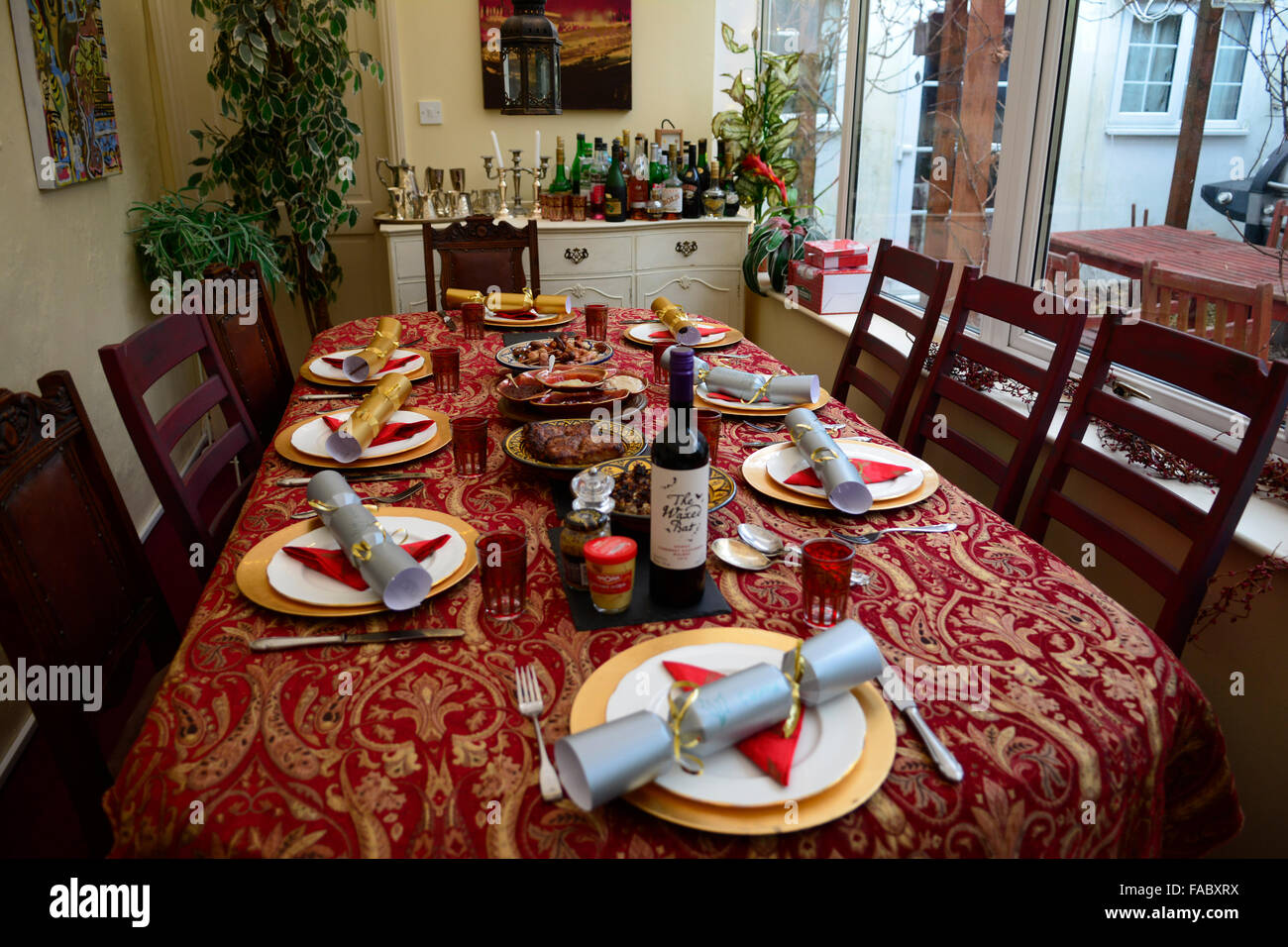 Home made food served on Christmas Day in a family home. - Stock Image