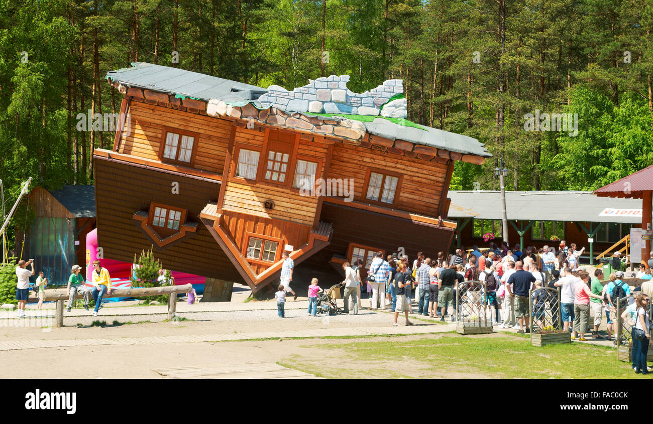 Szymbark - House upside down, original project in open-air museum of wooden architecture, Poland - Stock Image