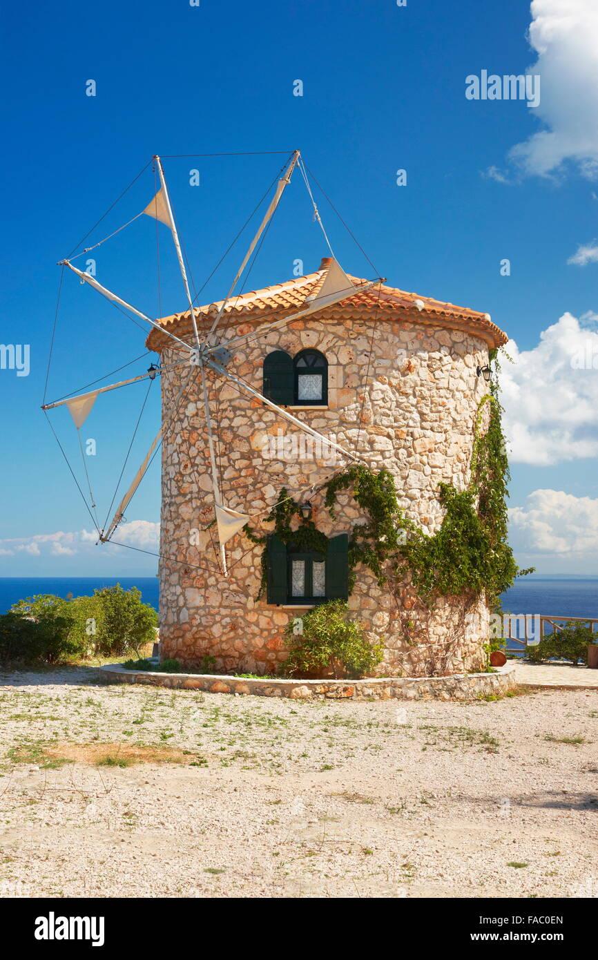 Greece - Zakynthos Island, Ionian Sea, Skinari Cape, Windmill House - Stock Image