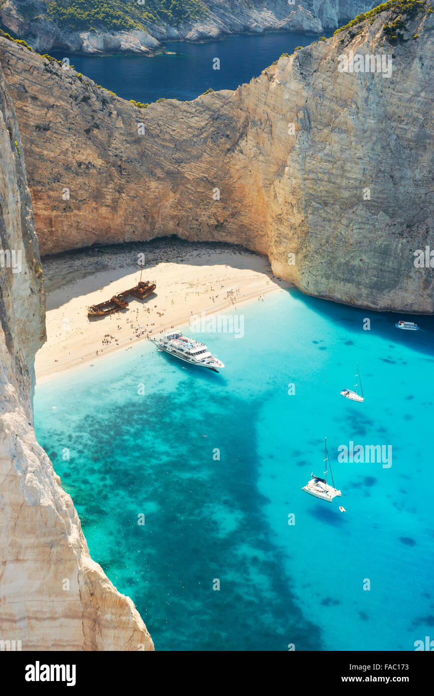 Greece - Zakynthos, Navagio Beach, Shipwrack Cove - Stock Image