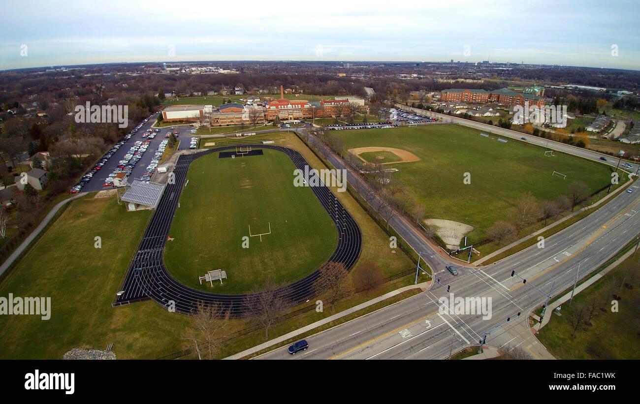 Bird eye view of Benet Academy - Stock Image