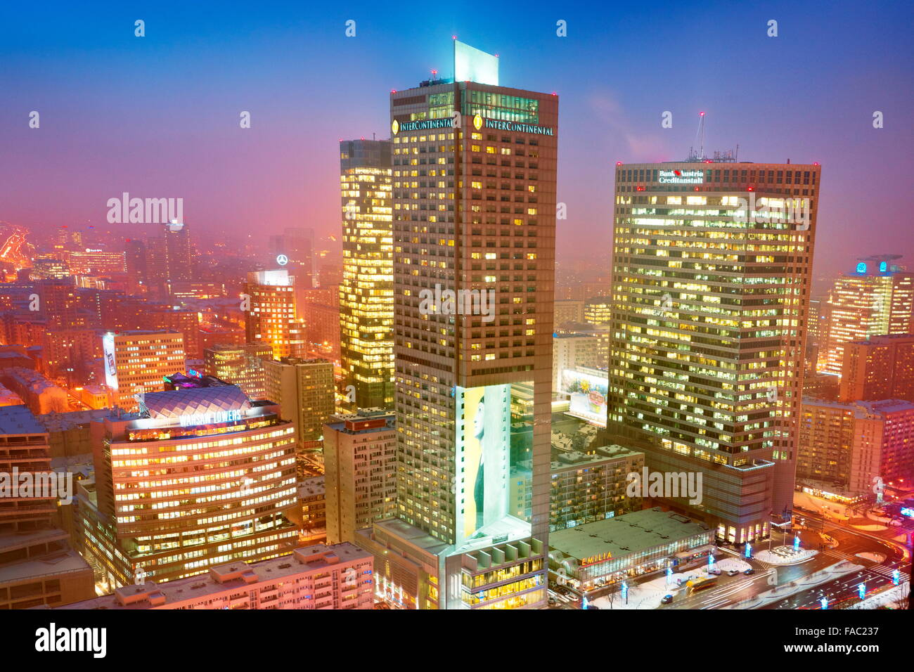 Warsaw modern district skyline, Poland - Stock Image