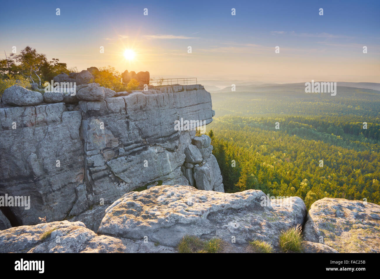 Szczeliniec Wielki National Park at sunset - Table Mountains, Poland - Stock Image