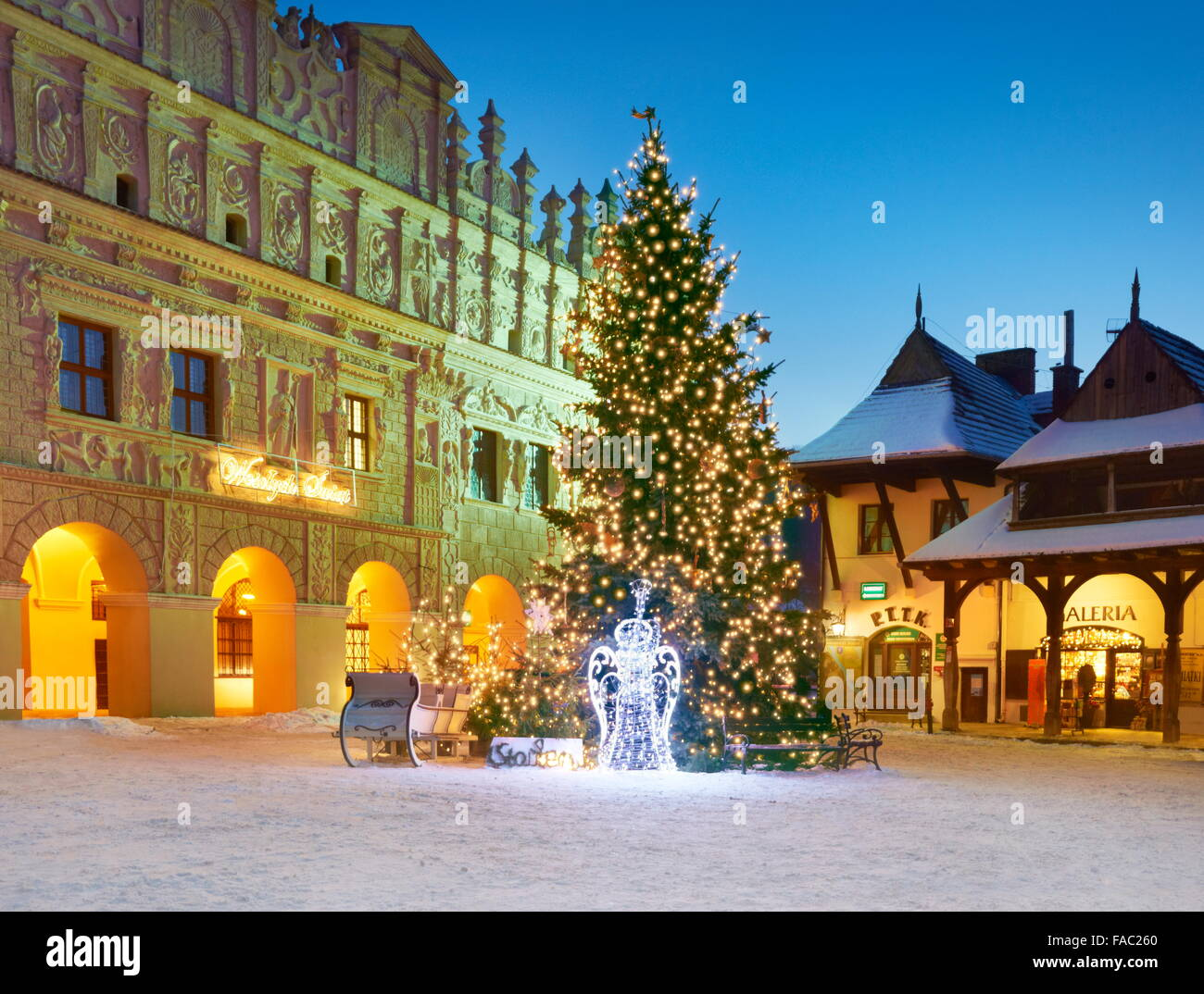 christmas tree and christmas decorations at evening time kazimierz dolny village poland stock