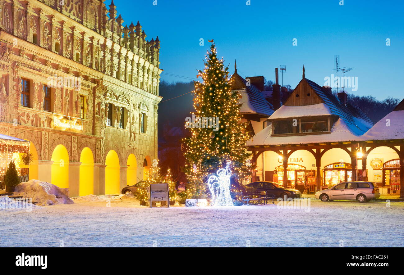 christmas tree kazimierz dolny village poland stock image