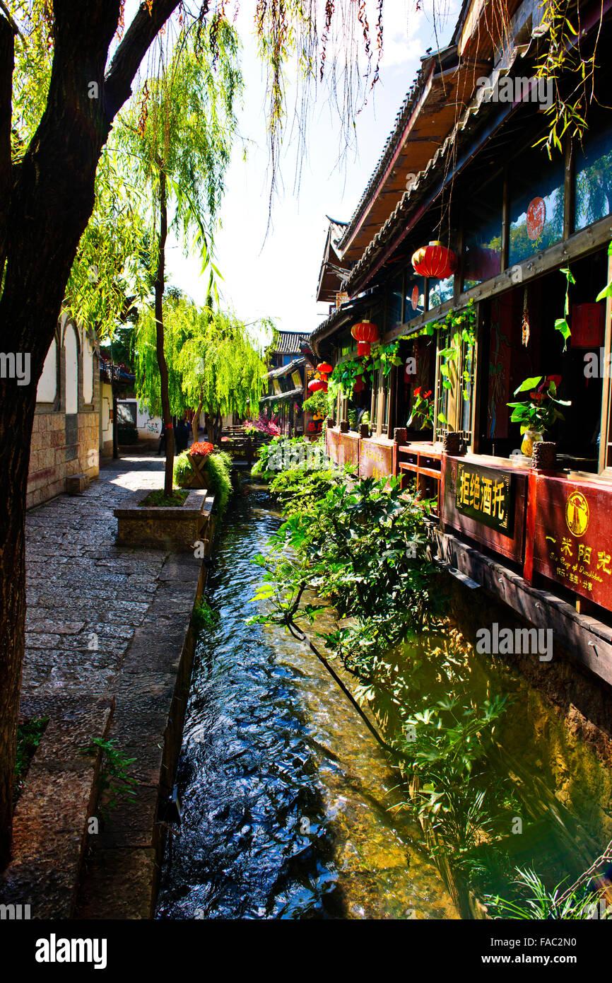 Old Town Lijiang,Jade Dragon Mountain,Black Dragon Pool,Carp,Naxi Ethnic Peoples,Yunnan Province,PRC,People's - Stock Image