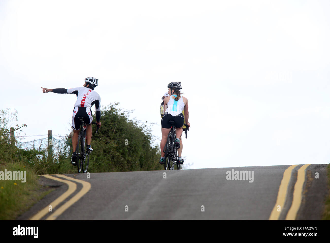Road cyclists enjoying the view, June 2015 - Stock Image