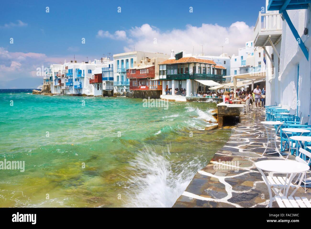 Mykonos Town (Little Venice), Mykonos Island, Cyclades, Greece - Stock Image