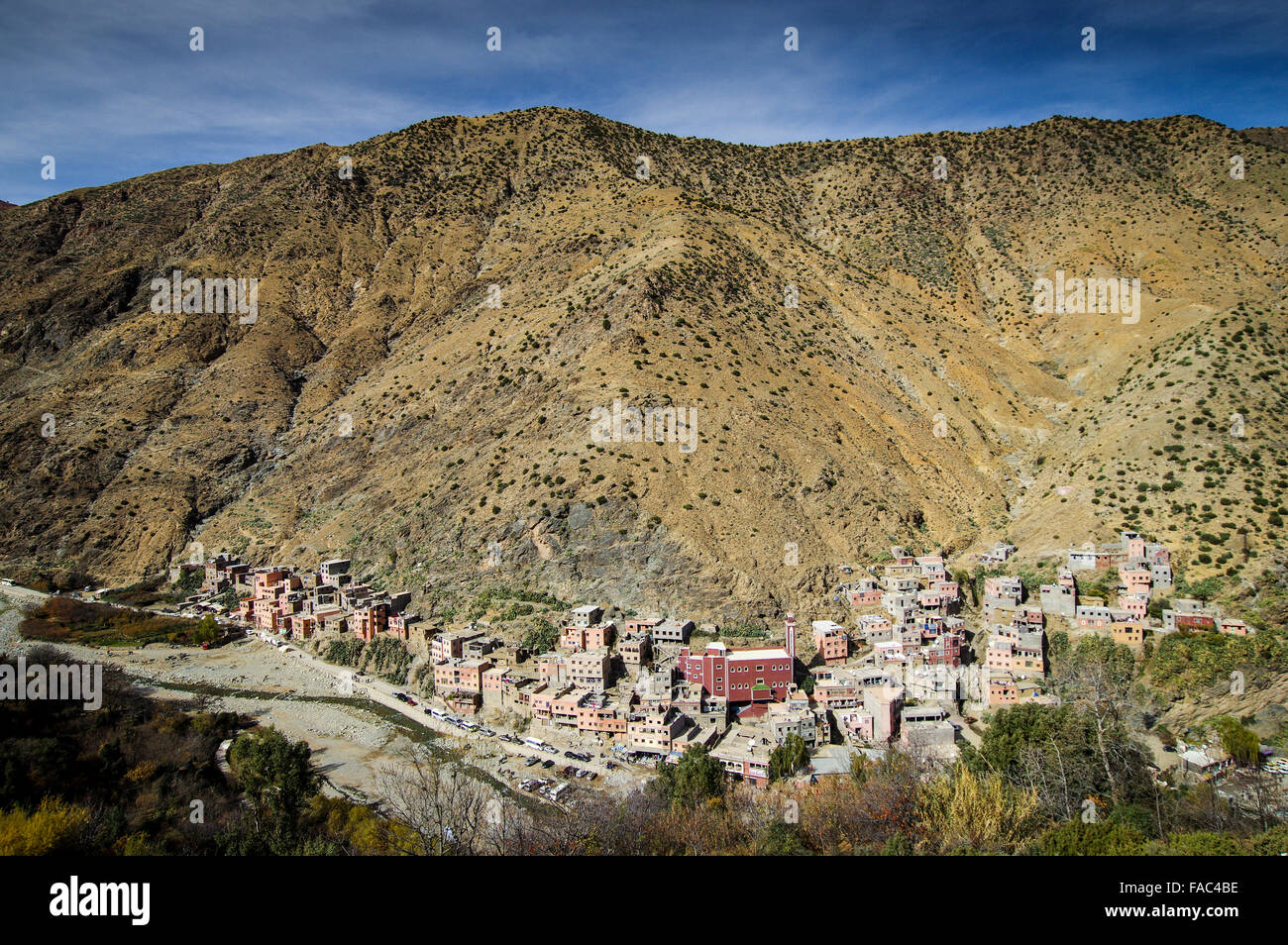 Village of Setti Fatma nestled on the hillsides of Ourika Valley - High Atlas mountains, Morocco Stock Photo