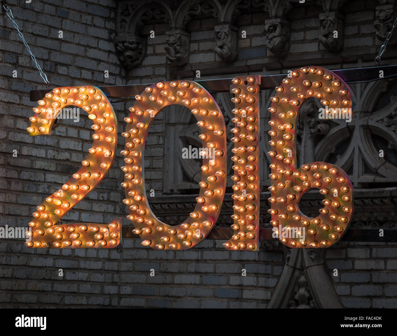 Close-up of hanging lights with the numbers 2016 made of light bulbs Stock Photo